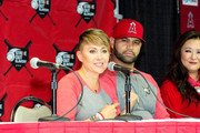 (L-R) Deidre Pujols, Albert Pujols and Susan Kang Schroeder attend the Strike Out Slavery Press Conference at Angel Stadium on August 9, 2018 in Anaheim, California.