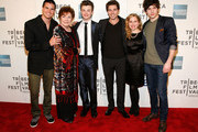 """Actors Robbie Amell, Polly Bergen, Chris Colfer, Roberto Aguire, Allie Grant and Carter Jenkins attend """"Struck By Lightning"""" Premiere during the 2012 Tribeca Film Festival at the Borough of Manhattan Community  College on April 21, 2012 in New York City."""