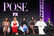 (L-R) Producer/writer/director Janet Mock, Producer/writer Our Lady J, Actors Mj Rodriguez, Dominique Jackson, Indya Moore, and Billy Porter speak onstage at the 'Pose' panel during the FX Network portion of the Summer 2018 TCA Press Tour at The Beverly Hilton Hotel on August 3, 2018 in Beverly Hills, California.