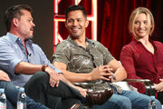 """(L-R) Executive Producer Peter M. Lenkov,  actor Jay Hernandez, and actress Perdita Weeks of the television show """"Magnum P.I"""" speak during the CBS segment of the Summer 2018 Summer Television Critics Association Press Tour at Beverly Hilton Hotel on August 5, 2018 in Beverly Hills, California."""