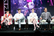 (L-R) Creator/Executive Producer Amy Sherman-Palladino, Executive Producer Daniel Palladino, and actors Rachel Brosnahan and Tony Shalhoub of 'The Marvelous Mrs. Maisel' speak onstage during the Amazon Studios portion of the Summer 2018 TCA Press Tour at The Beverly Hilton Hotel on July 28, 2018 in Beverly Hills, California.