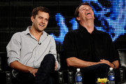 "Actors Joshua Jackson and John Noble of the television show ""Fringe"" speak during the Fox Network portion of the 2009 Summer Television Critics Association Press Tour at The Langham Huntington Hotel & Spa on August 6, 2009 in Pasadena, California."