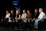 "(L-R) Actor Joshua Jackson, actor John Noble, actress Anna Torv, co-creator/writer/consulting producer Alex Kurtzman, Co-creator/writer/consulting producer Roberto Orci, executive producer J.H. Wyman and executive producer Jeff Pinkner of the television show ""Fringe"" speak during the Fox Network portion of the 2009 Summer Television Critics Association Press Tour at The Langham Huntington Hotel & Spa on August 6, 2009 in Pasadena, California."
