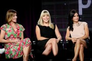 """Actors Christa Miller, Busy Philipps and Courteney Cox of the television show """"Cougar Town"""" speak  during the ABC Network portion of the 2009 Summer Television Critics Association Press Tour at The Langham Huntington Hotel & Spa on August 8, 2009 in Pasadena, California."""