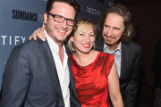(L-R) Actor Aden Young, actress Lo Carmen and creator Ray McKinnon arrives at the premiere of SundanceTV's 'Rectify' Season Two  at Sundance Sunset Cinema on June 16, 2014 in Los Angeles, California.