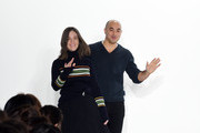 Suno designers Erin Beatty and Max Osterweis greet the audience following the Suno fashion show during Mercedes-Benz Fashion Week Fall 2015 at Center 548 on February 13, 2015 in New York City.