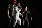 LeCrae (L) and Kirk Franklin (center) sing during the Super Bowl Gospel 2013 at UNO Lakefront Arena on February 1, 2013 in New Orleans, Louisiana.