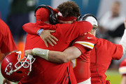 Patrick Mahomes #15 greets head coach Andy Reid of the Kansas City Chiefs after defeating San Francisco 49ers by 31 - 20  in Super Bowl LIV at Hard Rock Stadium on February 02, 2020 in Miami, Florida.
