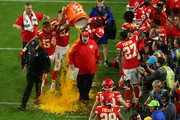 Head coach Andy Reid of the Kansas City Chiefs gets a ice bath after defeating the San Francisco 49ers 31-20 in Super Bowl LIV at Hard Rock Stadium on February 02, 2020 in Miami, Florida.