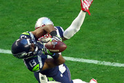 Chris Matthews #13 of the Seattle Seahawks makes a catch in the second quarter against   Kyle Arrington #25 of the New England Patriots during Super Bowl XLIX at University of Phoenix Stadium on February 1, 2015 in Glendale, Arizona.
