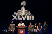 Brittney Payton (2ndR), Connie Payton (3rdR) and Jarrett Payton (R) look on as finalists Thomas Davis (2ndL) of the Carolina Panthers, Jay Feely (3rdL) of the Arizona Cardinals and Charles Tillman (R) of the Chicago Bears address the media during the Super Bowl XLVIII NFL Walter Payton Man of the Year Award press conference at the Rose Theater, Jazz at Lincoln Center on January 31, 2014 in New York City.
