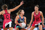 Liz Watson of the Vixens competes for the ball during the round 11 Super Netball match between the Vixens and the Thunderbirds at Hisense Arena on July 15, 2018 in Melbourne, Australia.