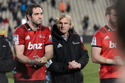 Captain Samuel Whitelock of the Crusaders and Head Coach Scott Robertson of the Crusaders (L-R) react after their win in the round 19 Super Rugby match between the Crusaders and the Blues at AMI Stadium on July 14, 2018 in Christchurch, New Zealand.