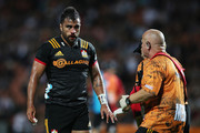 Liam Messam of the Chiefs is seen by medical staff during the round five Super Rugby match between the Chiefs and the Bulls at Waikato Stadium on March 16, 2018 in Hamilton, New Zealand.