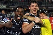 Lwazi Mvovo with Marcell Coetzee and Paul Anthony (Assistant Coach) of the Cell C Sharks during the Super Rugby match between Cell C Sharks and Chiefs at Growthpoint Kings Park on March 21, 2015 in Durban, South Africa.