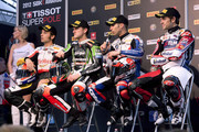 (L-R) Sylvain Guintoli of France and Team Effenbert - Liberty Racing, Tom Sykes of Great Britain and Kawasaki Racing Team, Marco Melandri of Italy and BMW Motorrad Motorsport and Carlos Checa of Spain and Althea Racing pose after qualifying session of the Superbike World Championship Round Four at Autodromo di Monza on May 5, 2012 in Monza, Italy.