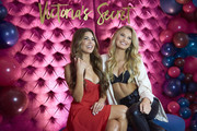 """Negin Mirsalehi and Romee Strijd pose for a photo at Hotel Crescent while celebrating the all new """"Body by Victoria"""" collection on August 14, 2018 in Dallas, Texas."""