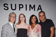 (L-R) Buxton Midyette, winner Alyssa Wardrop, FIT, June Ambrose, and Bibhu Mohapatra at Supima Design Competition SS18 runway show during New York Fashion Week at Pier 59 on September 7, 2017 in New York City.