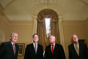 (L-R) Senate Majority Leader Mitch McConnell (R-KY), Judge Brett Kavanaugh, Vice President Mike Pence and former Sen. Jon Kyl (R-AZ) pose for photographs before a meeting in McConnell's office in the U.S. Capitol July 10, 2018 in Washington, DC. U.S. President Donald Trump nominated Kavanaugh to succeed retiring Supreme Court Associate Justice Anthony Kennedy.