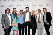 """(L-R) Wayne Godfrey, Mia Goth, Martin McCann, Stephen Fingleton, Olwen Fovere, Robert Jones and David Gilbery attend the premiere of """"The Survivalist"""" during the 2015 Tribeca Film Festival at Chelsea Bow Tie Cinemas on April 16, 2015 in New York City."""