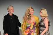 Fashion designers Hans M. Bachmayer (L) and Susanne Wiebe (R) and Rosanna Davison (C) attend the Susanne Wiebe Fashion Show on August 12, 2011 in Munich, Germany.