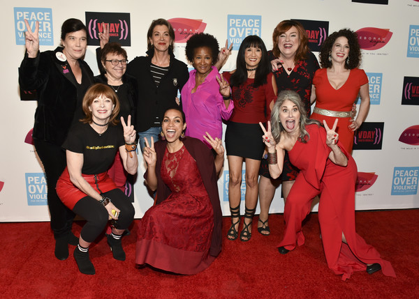 20th Anniversary of V-Day at The Broad Stage [red carpet,carpet,red,event,flooring,premiere,dress,broad stage,l-r,v-day,frances fisher,wanda sykes,suzanne whang,wendy hammers,rosario dawson,wendie malick,jody vaclav]