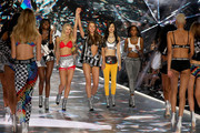 (L-R)  Zuri Tibby, Josie Canseco, Alanna Walton, Estelle Chen, and Isilda Moreira walk the runway in the 2018 Victoria's Secret Fashion Show at Pier 94 on November 8, 2018 in New York City.