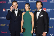 Prince Daniel of Sweden, Princess Sofia of Sweden, and Prince Carl Philip of Sweden pose for a picture on the red carpet during Idrottsgalan, the annual Swedish Sports Gala, at the Ericsson Globe Arena on January 27, 2020 in Stockholm, Sweden.