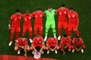 England pose for a team photo during the 2018 FIFA World Cup Russia Quarter Final match between Sweden and England at Samara Arena on July 7, 2018 in Samara, Russia.