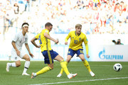 Marcus Berg of Sweden takes a shot during the 2018 FIFA World Cup Russia group F match between Sweden and Korea Republic at Nizhniy Novgorod Stadium on June 18, 2018 in Nizhniy Novgorod, Russia.