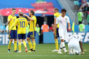 Sweden players celebrate their victory following the 2018 FIFA World Cup Russia group F match between Sweden and Korea Republic at Nizhniy Novgorod Stadium on June 18, 2018 in Nizhniy Novgorod, Russia.