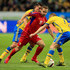 Sebastian Larsson and Mikael Lustig of Sweden compete for the ball with Alexandru Antoniuc of Moldova during the UEFA EURO 2016 Qualifying match between Sweden and Moldova at the National Stadium Friends Arena on October 12, 2015 in Stockholm, Sweden.