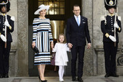 Sweden's Crown Princess Victoria, Princess Estelle and Prince Daniel arrive for the Te Deum thanksgiving service in the Royal Chapel during King Carl XVI Gustaf of Sweden's 70th birthday celebrations in Stockholm, Sweden, April 30, 2016. .. / AFP / TT NEWS AGENCY AND TT News Agency / Maja Suslin/TT / Sweden OUT