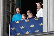 Queen Silvia of Sweden, Princess Estelle, Duchess of Ostergotland, Princess Sofia, Duchess of Varmland, Prince Oscar, Duke of Skane, Prince Daniel, Duke of Vastergotland and Crown Princess Victoria of Sweden attend a celebration of King Carl Gustav's 72nd birthday anniversary at the Royal Palace on April 30, 2018 in Stockholm, Sweden.