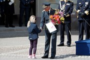 King Carl XVI Gustaf of Sweden receives flowers at a celebration of his 73rd birthday anniversary at the Royal Palace  on April 30, 2019 in Stockholm, Sweden.