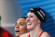 Natalie Coughlin (L) and Missy Franklin of the USA ceelbrate after the Swimming Women's4x100mFreestyle on day nine of the 15th FINA World Championships at Palau Sant Jordi on July 28, 2013 in Barcelona, Spain.