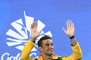 Silver medalist Chad le Clos of South Africa poses during the medal ceremony for the Men's 100m Freestyle Final on day four of the Gold Coast 2018 Commonwealth Games at Optus Aquatic Centre on April 8, 2018 on the Gold Coast, Australia.