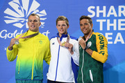 (L-R) Silver medalist Kyle Chalmers of Australia, gold medalist Duncan Scott of Scotland and silver medalist Chad le Clos of South Africa pose during the medal ceremony for the Men's 100m Freestyle Final on day four of the Gold Coast 2018 Commonwealth Games at Optus Aquatic Centre on April 8, 2018 on the Gold Coast, Australia.