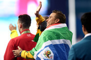 Gold medalist Chad le Clos of South Africa waves following the medal ceremony for the Men's 100m Butterfly Final on day five of the Gold Coast 2018 Commonwealth Games at Optus Aquatic Centre on April 9, 2018 on the Gold Coast, Australia.
