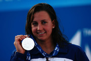 Rebecca Soni of the United States receives the silver medal during the medal ceremony for the Women's 50m Breaststroke Final during the 13th FINA World Championships at the Stadio del Nuoto on August 2, 2009 in Rome, Italy.