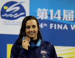 Bronze medalist Rebecca Soni of the United States poses after the Women's 50m Breaststroke Final during Day Sixteen of the 14th FINA World Championships at the Oriental Sports Center on July 31, 2011 in Shanghai, China.