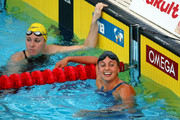 Rebecca Soni of the United States (R) celebrates victory in the Women's 100m Breaststroke Final during the 13th FINA World Championships at the Stadio del Nuoto on July 28, 2009 in Rome, Italy.