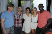 """(L-R) Actors Chris Carmack, Dustin Milligan, Alyssa Diaz, Sara Paxton and Sinqua Walls attend the Swimming With Sharks Pool Party in celebration of """"Shark Night 3D"""" held at Hotel Shangri-La on August 27, 2011 in Santa Monica, California."""