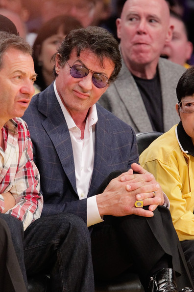 Celebrities At The Lakers Game [event,audience,gesture,celebrities,sylvester stallone,los angeles,california,staples center,los angeles lakers,utah jazz,game,game]