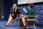 Mira Sorvino (L) and Katherine Tulich attend an FYC Conversation hosted by AT&T Audience at The Paley Center for Media on October 8, 2018 in Beverly Hills, California.