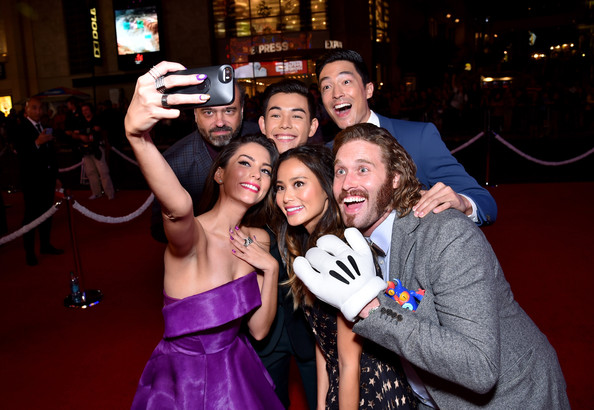 'Big Hero 6' Premieres in Hollywood [big hero 6,event,fun,friendship,yellow,party,photography,formal wear,dress,selfie,ceremony,red carpet,genesis rodriguez,actors,scott adsit,ryan potter,l-r,los angeles,walt disney animation studios,premiere]