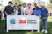 (L-R) Actor Josh Duhamel, Kyle Rudolph of the Minnesota Vikings, Golf Channel host Kira Dixon, actor Clint Eastwood, Sir Nick Faldo, actor Bill Murray, actor Ray Romano, actor Alfonso Ribeiro, and music artist Clay Walker pose for a group photo prior to the 3M Celebrity Challenge prior to the AT&T Pebble Beach Pro-Am at Pebble Beach Golf Links on February 05, 2020 in Pebble Beach, California.