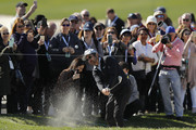 Actor Ray Romano plays a shot from a bunker on the second hole during the 3M Celebrity Challenge prior to the AT&T Pebble Beach Pro-Am at Pebble Beach Golf Links on February 05, 2020 in Pebble Beach, California.