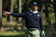 Matt Kuchar of the United States reacts during the first round of the AT&T Pebble Beach Pro-Am at Monterey Peninsula Country Club Shore Course on February 07, 2019 in Pebble Beach, California.