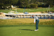 Jordan Spieth of the United States putts during the third round of the AT&T Pebble Beach Pro-Am at Pebble Beach Golf Links on February 09, 2019 in Pebble Beach, California.